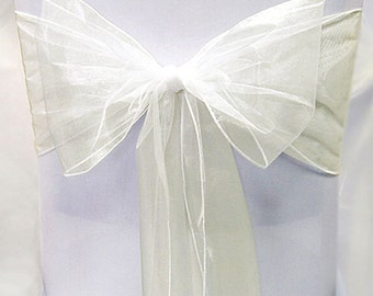 Chair Sashes 150  Wedding Chair Sashes Chair Bows Ivory Organza Pew Bows Party Bows Event