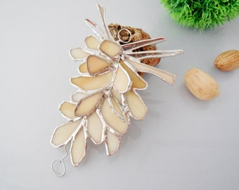 Beige White Pinecone. Stained Glass Suncatcher. Pinecone.