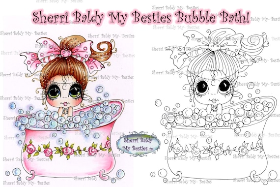 INSTANT DOWNLOAD Digital Digi Stamps Big Eye Big Head Dolls Digi  My Besties Bath Time IMG329 By Sherri Baldy