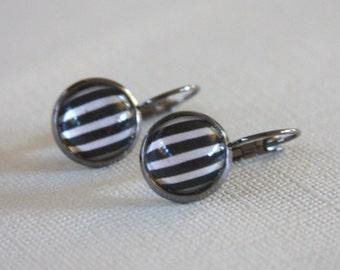 Glass Dome Cabochon Earrings, Black White Stripe,Gunmetal,12mm