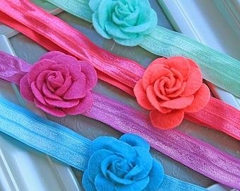 Bright Color Baby Girl Felt Flower Headband Set - Petite Rose Flower Hair Bows in Mint, Hot Pink, Fuchsia & Aqua
