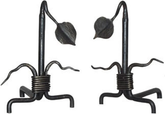 Hand Forged Wrought Iron Leaf Andirons