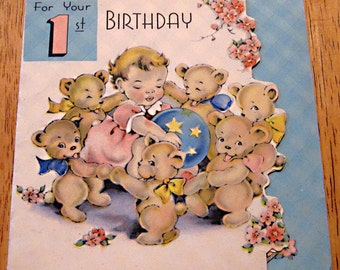 Vintage birthday card 1 year old 1940s
