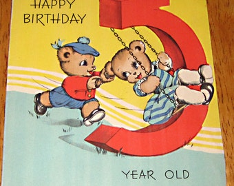 Vintage birthday card 5 year old 1944