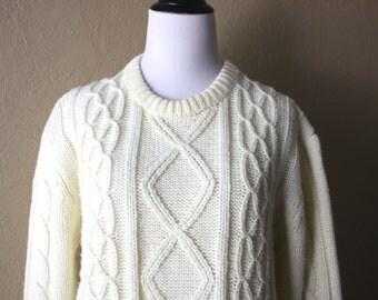 Vintage Cream Fisherman Style Sweater