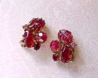 "Beautiful Vintage ""Jeweled"" Earrings in Deep Berry Shades"