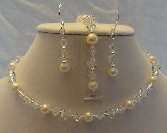 925 Swarovski Crystal and Freshwater Pearl Necklace, Bracelet, and Earring Set