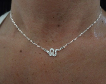 CZ  sterling silver  snake necklace