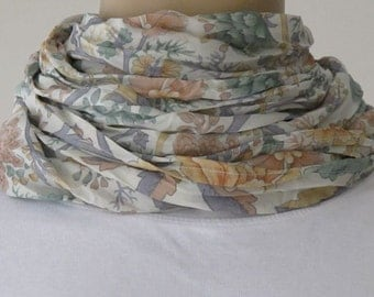 SALE Silk  Scarf with Flowers
