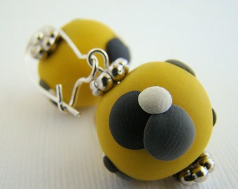 Earrings, Dangle, Yellow, Black, Dots, Polymer Clay Beads, For Her