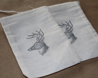 Set of 10 Hand stamped Deer Head Stag Party Groomsmen Bag Muslin Party Favor Bags Eco Friendly 100% organic
