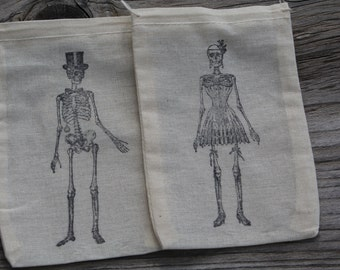 Set of 10 Hand stamped Skeleton Bride & Groom Muslin Party Favor Bags 100% organic made in america