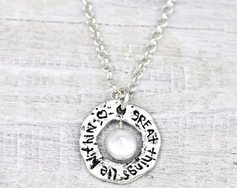 Great Things Lie Within Necklace - Inspirational Jewelry - Pearl Necklace - N402
