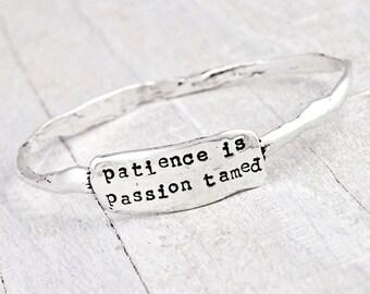 Patience Bangle Bracelet - Word Jewelry - Inspirational Jewelry - B373