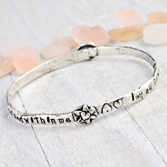 Invincible Summer Bangle - Inspirational Jewelry - Bangle - Dove Bracelet- Word Jewelry - B333