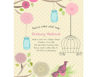 Bird Cage & Ball Jar Baby or Wedding Shower invitation Card Printable Digital - Customizable