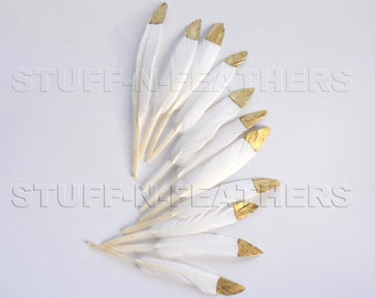 GOLD dipped natural white feathers - metallic gold hand painted loose duck feathers gold tip / 4.5-6 in (11.5-15 cm) long, 12 pcs /F120-4.5G