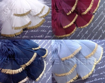Wholesale / Bulk GOLD DIPPED feathers – metallic gold hand painted turkey feathers for wedding, millinery / 3-5in (7.5-12.5cm) long/ FB115MG