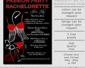 Printable Naughty and Nice Black and Red Glitter Passion Party Bachelorette Party Invitation
