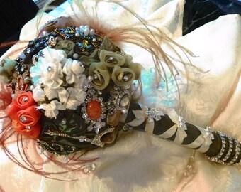 Keepsake Brooch and Silk Bridal Bouquet - Olive Green/Orange/Ivory/Rhinestones