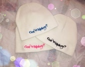 Ladies/Gals-White Got Whiskey Beanie/Stocking Knit Hat-Embroidered Trademark Clothing line-Holiday Gift