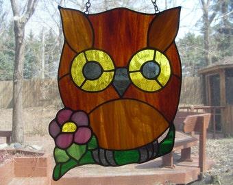 Owl with flower suncatcher