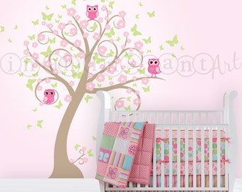 Owl Blossom Butterfly Tree Wall Decal, Owl and Tree Wall Decal with Butterflies and Blossoms for a Baby Nursery, Kids or Childrens Room 044