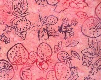 SALE - Moda Fabrics - Eat Your Fruits and Veggies Batik - Juicy Strawberries on Pink Batik- Choose Your Cut 1/2 or Full Yard