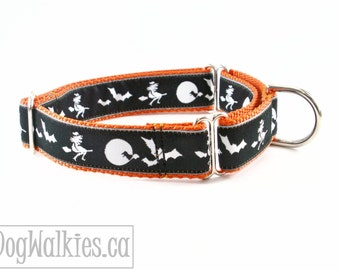 "Halloween - Witches, Bats and Full Moons - 1"" (25mm) Wide - Choice of size and style - Matingale Dog Collar or Quick Release Dog Collar"