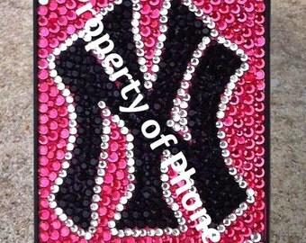 Pink New York Yankees Rhinestone iPhone Case