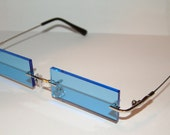 Blue streached rectangle Rimless Cosplay glasses.