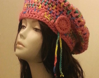 Crocheted Beret Hat - Boho - Beret Hat - Chunky Beret - Slouch Hat - Rainbow Hat - FREE UK delivery