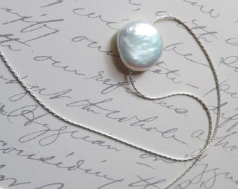 Lustrous Coin Pearl on Fine Gauge Sterling Silver Woven Chain