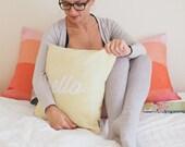 Pillow Cover, Abstract Herringbone Pillow, Throw Yellow Pillow, Maize, Citrine, Nursery Room Pillow, 16x16 Pillow Decorative  -  Hello
