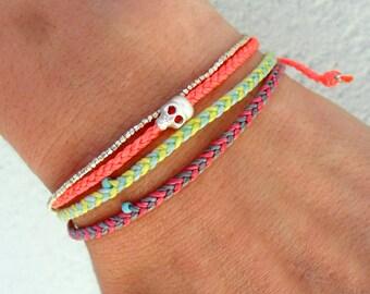 Summer bracelet friendship bracelet - with turquoise glass bead