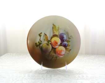 Vintage handpainted plate with peaches and grapes marked J & C