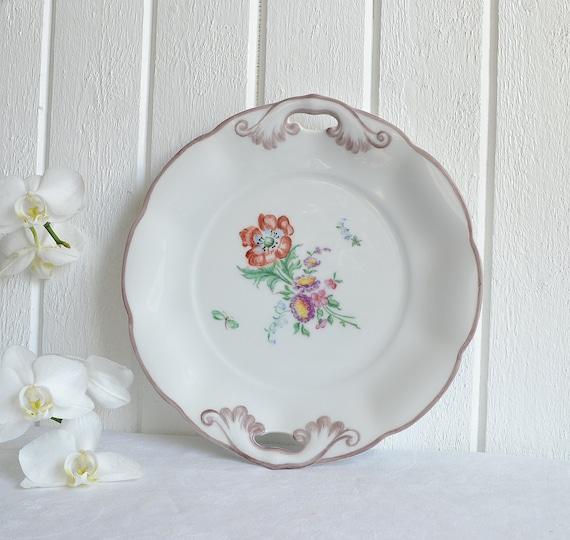 Bavaria cake plate handles floral  vintage German cookie platter