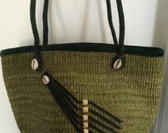 SALE //  Vintage Ethnic Boho Jute Sisal Tote Beach  Bag