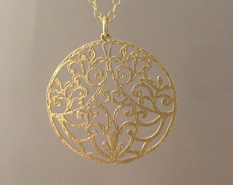 Long Gold Round Filagree Medallion Necklace