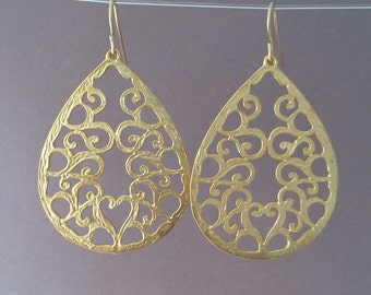 Gold Filagree Teardrop Earrings