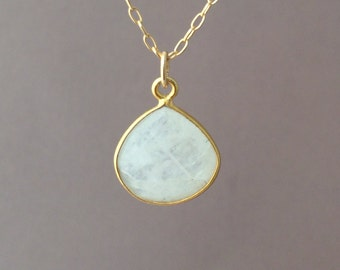 SMALL Gold White Moonstone Teardrop Necklace Long or Short