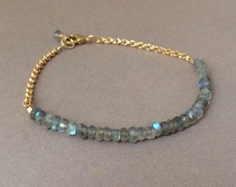 Labradorite Gemstone Beaded Gold Bracelet also available in Silver