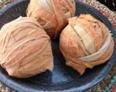 Primitive Rag Balls~ 1800's quit~Rustic decor~ Spring prim decor~light orange peach