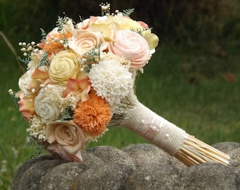 Sola Bride Bouquet with Dried Flower Accents Custom Colors Welcome Made to Order