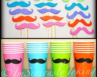 24 Mustache Cups and 30 Cupcake toppers-Party Pack-Little Man Party-Mustache Party-Mustache on a stick-Baby Shower Cupcake-Mustache cups