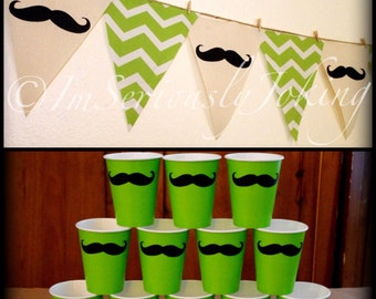 Bright Green Chevron print Mustache Banner and 12 Cups-Mustache Banner-Little Man Party-Mustache Baby Shower-Party Banner-Gender Reveal