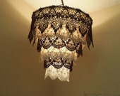 Venise Lace Faux Chandelier Pendant Lamp Shade 'Brown & Off White'