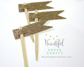 Gold Glitter Party Picks | Gold Cupcake Toppers| 1st Happy Birthday Decorations Set of 12