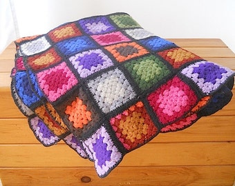 Vintage Handmade Wool Floral Throw Afghan Blanket, Summer Blanket For Picnic, Designer Home Decor, Bedding Blanket Gift For MOM