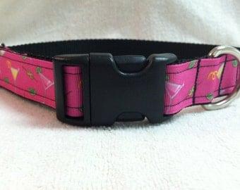 Hot Pink Martini Dog Collar